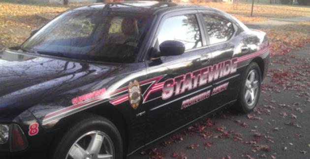 patrol car with state-wide protective agency logo